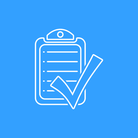 filling folder: Checklist vector icon. White Illustration isolated on blue background for graphic and web design. Illustration