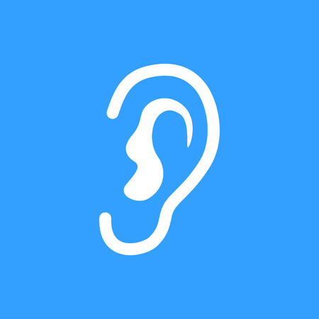listener: Ear vector icon. White Illustration isolated on blue background for graphic and web design. Illustration