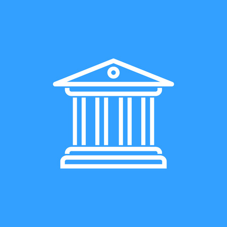 tribunal: Court vector icon. White Illustration isolated on blue background for graphic and web design.