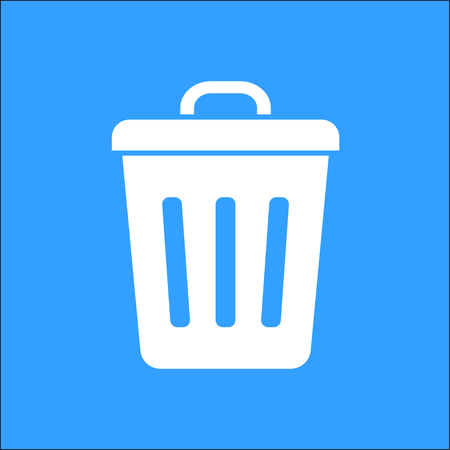 sewage: Bin vector icon. White Illustration isolated on blue background for graphic and web design.
