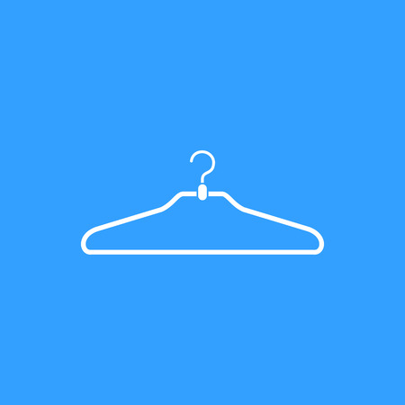 shirts on hangers: Hanger vector icon. White Illustration isolated on blue background for graphic and web design. Illustration