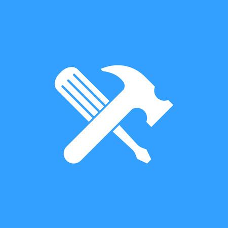Hulpprogramma vector pictogram. Witte illustratie geïsoleerd op blauwe achtergrond voor grafisch en webdesign.