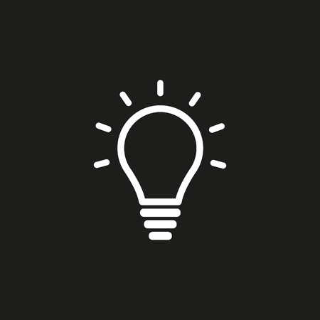invent clever: Lamp vector icon. White illustration isolated on black background for graphic and web design. Illustration