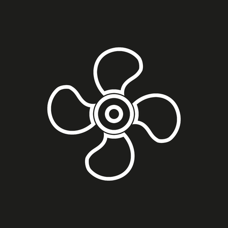 black fan: Fan vector icon. White illustration isolated on black background for graphic and web design. Illustration