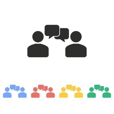 la interacción del vector del icono humano. Ilustración sobre fondo blanco para el diseño gráfico y web.