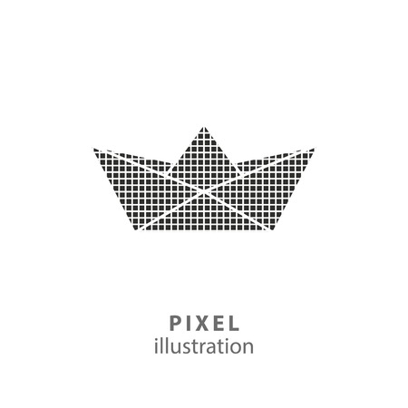 prow: Paper boat - pixel icon. Vector Illustration. Design logo element. Isolated on white background. It is easy to change to any color.