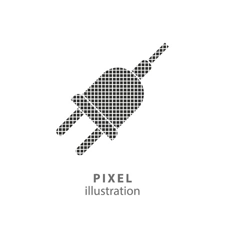 Plug - pixel icon. Vector Illustration. Design logo element. Isolated on white background. It is easy to change to any color.