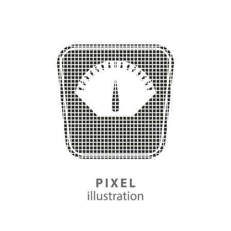 dieting: Scale - pixel icon. Vector Illustration. Design   element. Isolated on white background. It is easy to change to any color.