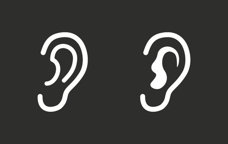 tapping: Ear vector icon. White illustration isolated on black background for graphic and web design. Illustration