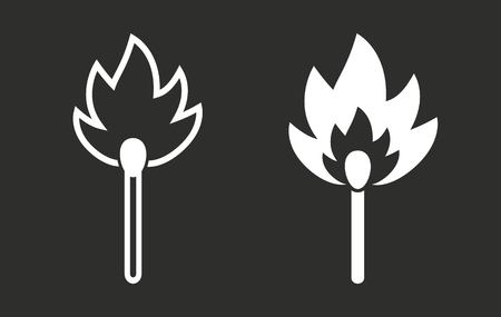 extinguishing: Match vector icon. White illustration isolated on black background for graphic and web design.