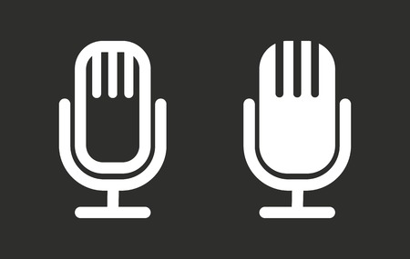 amplification: Microphone vector icon. White illustration isolated on black background for graphic and web design. Illustration