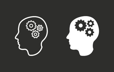 cerebro blanco y negro: Brain vector icon. White illustration isolated on black background for graphic and web design. Vectores