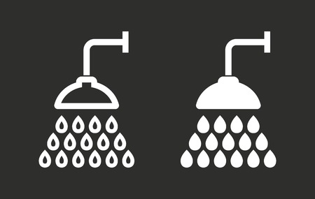 rinse: Shower vector icon. White illustration isolated on black background for graphic and web design. Illustration