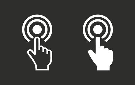 hit tech: Touch vector icon. White illustration isolated on black background for graphic and web design.
