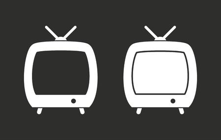 flatscreen: TV vector icon. White illustration isolated on black background for graphic and web design.