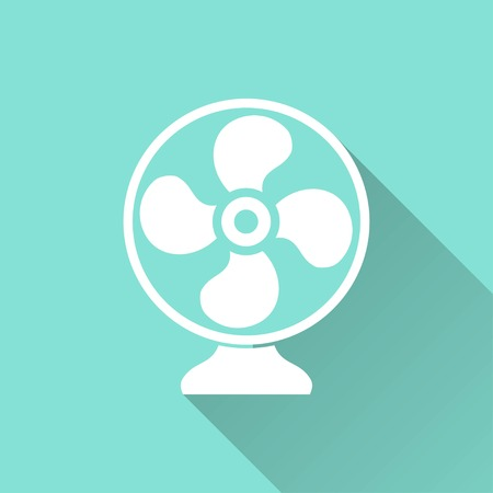 aeration: Fan vector icon with long shadow. White illustration isolated on green background for graphic and web design.