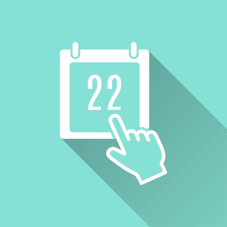 end of the days: Calendar vector icon with long shadow. White illustration isolated on green background for graphic and web design. Illustration
