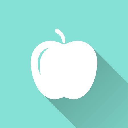 ripened: Apple vector icon with long shadow. White illustration isolated on green background for graphic and web design.