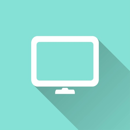 flatscreen: TV vector icon with long shadow. White illustration isolated on green background for graphic and web design.