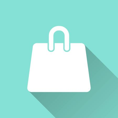 shopping bag vector: Shopping bag vector icon with long shadow. White illustration isolated on green background for graphic and web design.