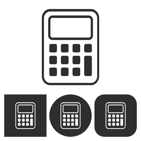 electronic balance: Calculator - black and white icons. Vector illustration.