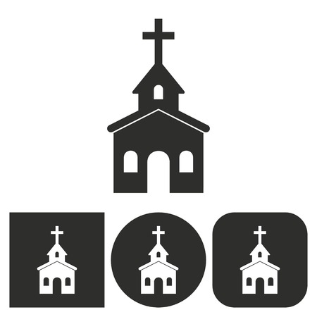 born again: Church - black and white icons. Vector illustration.