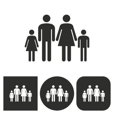 black family: Family - black and white icons. Vector illustration. Illustration