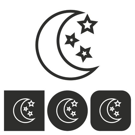 lullaby: Moon star - black and white icons. Vector illustration.