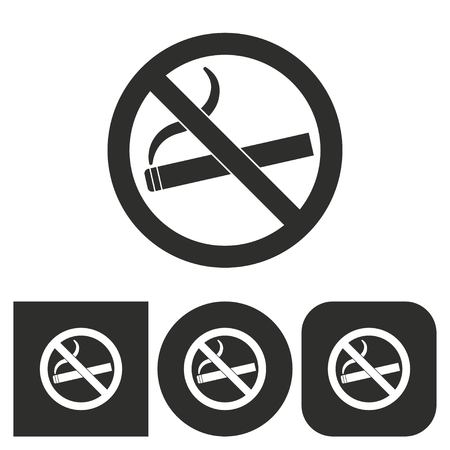 pernicious habit: Smoke - black and white icons. Vector illustration.