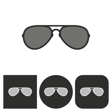 aviators: Sunglasses - black and white icons. Vector illustration. Illustration