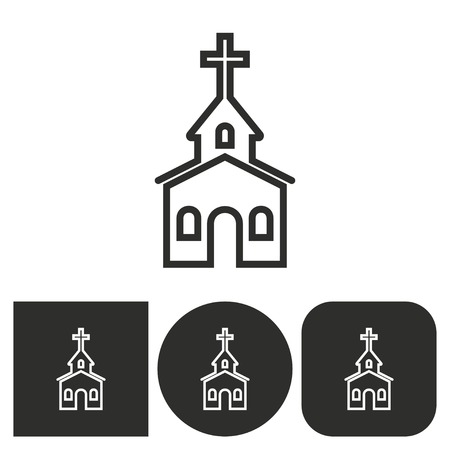 alter: Church - black and white icons. Vector illustration.