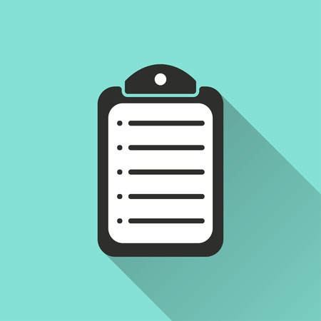 syllabus: Clipboard vector icon with long shadow. White illustration isolated on green background for graphic and web design.