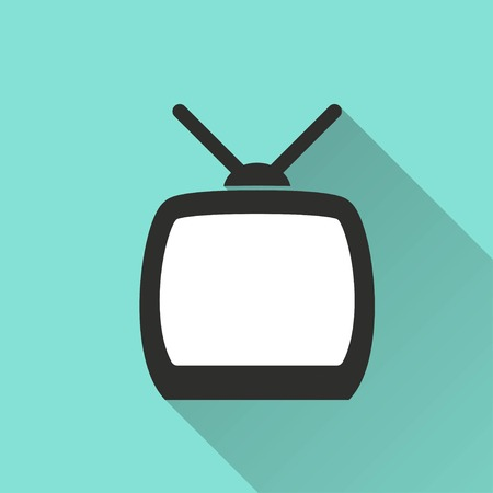 tv panel: TV vector icon with long shadow. White illustration isolated on green background for graphic and web design.