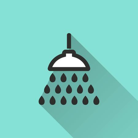 douche: Shower vector icon with long shadow. White illustration isolated on green background for graphic and web design.