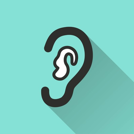 auditory: Ear vector icon with long shadow. White illustration isolated on green background for graphic and web design. Illustration