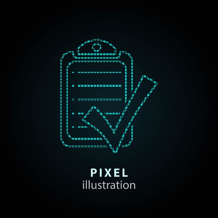 filling folder: Checklist - pixel icon. Vector Illustration. Design  element. Isolated on black background. It is easy to change to any color.