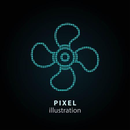 color fan: Fan - pixel icon. Vector Illustration. Design  element. Isolated on black background. It is easy to change to any color.