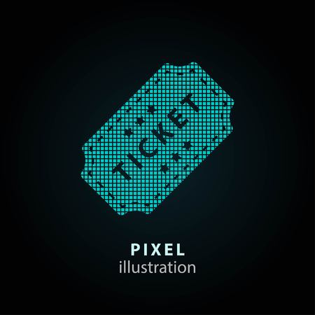 Ticket - pixel icon. Vector Illustration. Design  element. Isolated on black background. It is easy to change to any color.