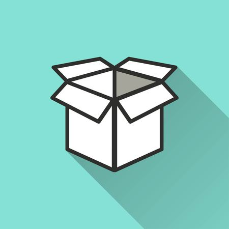 stockpile: Box vector icon with long shadow. IIllustration isolated for graphic and web design. Illustration