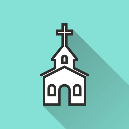 born again: Church vector icon with long shadow. IIllustration isolated for graphic and web design. Illustration