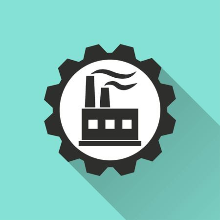 distillery: Factory vector icon with long shadow. IIllustration isolated for graphic and web design. Illustration