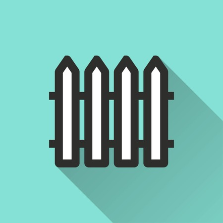 Fence vector icon with long shadow. IIllustration isolated for graphic and web design.