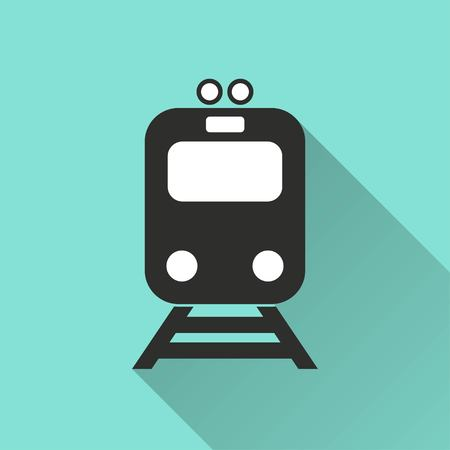 locomotion: Metro vector icon with long shadow. IIllustration isolated for graphic and web design.