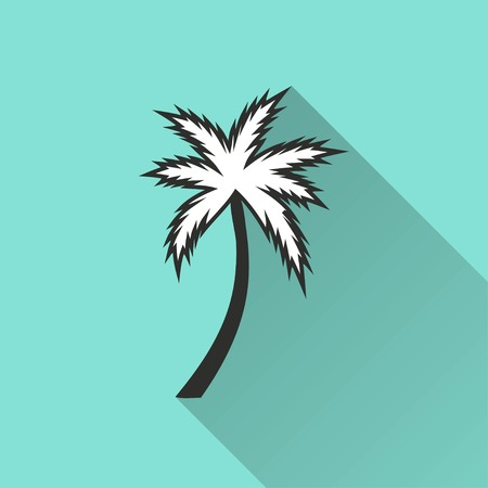 subtropical: Palm tree vector icon with long shadow. IIllustration isolated for graphic and web design.