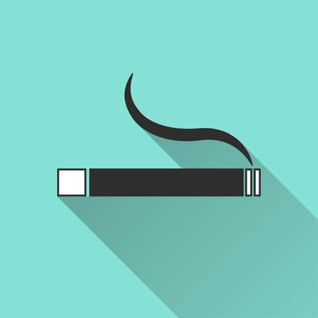 abstain: Smoke vector icon with long shadow. IIllustration isolated for graphic and web design. Illustration
