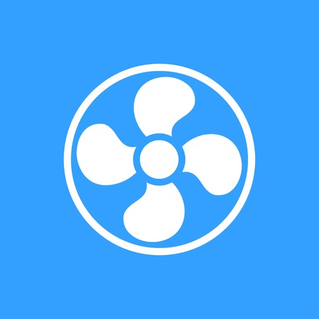 aeration: Fan vector icon. White Illustration isolated on blue background for graphic and web design.