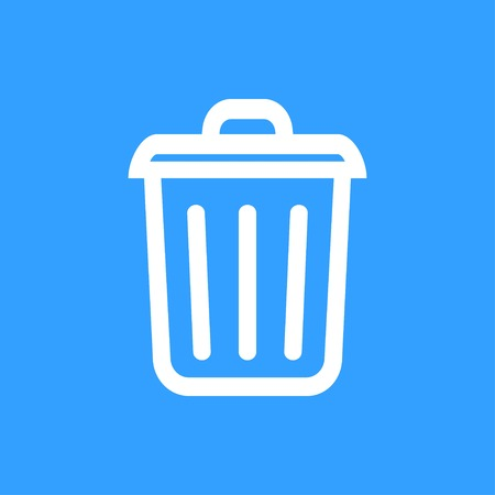 blue bin: Bin vector icon. White Illustration isolated on blue background for graphic and web design.