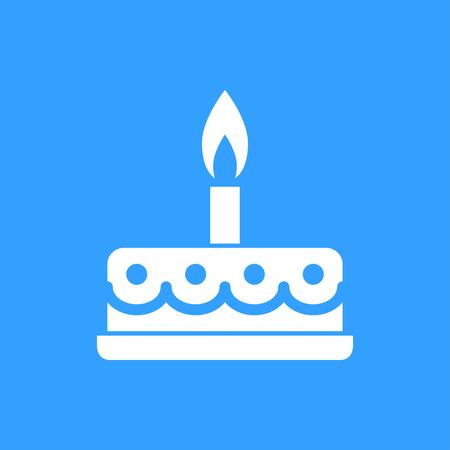Cake vector icon. White Illustration isolated on blue background for graphic and web design.