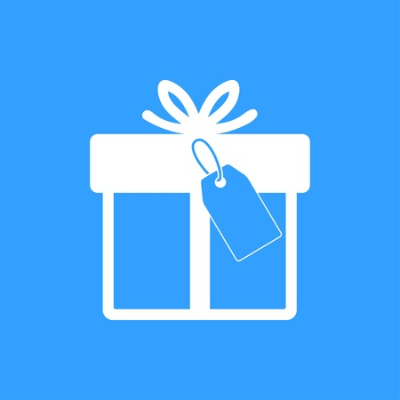 Gift Box Vector Icon White Illustration Isolated On Blue Background Royalty Free Cliparts Vectors And Stock Illustration Image 60318321