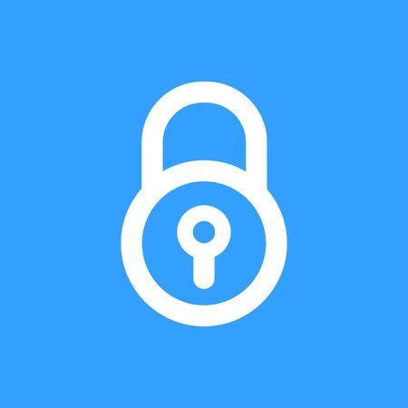 secrecy: Lock vector icon. White Illustration isolated on blue background for graphic and web design. Illustration